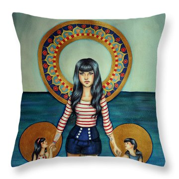 Out She Steps Throw Pillow by Lucy Stephens