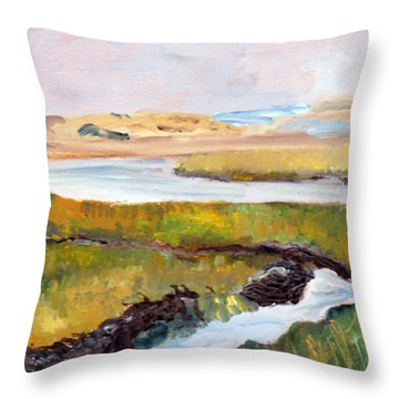 Throw Pillow featuring the painting Out To The Bay by Michael Helfen