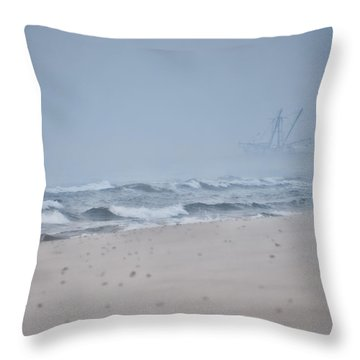 Throw Pillow featuring the photograph Out To The Foggy Sea - Barnegat Inlet by Beth Sawickie