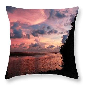 Out With A Roar Sunset Over Water Tarpon Springs Florida Throw Pillow
