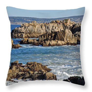 Outcroppings At Monterey Bay Throw Pillow by Susan Wiedmann
