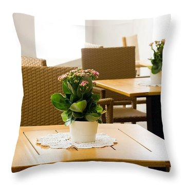 Outdoor Dining Tables Throw Pillow by Pati Photography