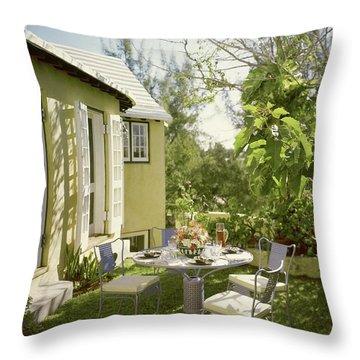 Outdoor Furniture At Shoreland House Throw Pillow
