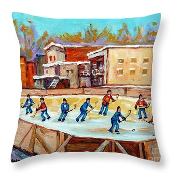 Outdoor Hockey Fun Rink Hockey Game In The City Montreal Memories Paintings Carole Spandau Throw Pillow by Carole Spandau