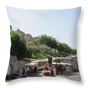 Outdoor Village Market Throw Pillow by Pema Hou