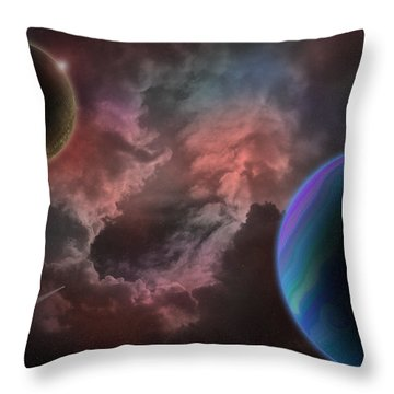 Outer Space Mystery Digital Painting Throw Pillow by Georgeta Blanaru
