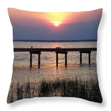 Throw Pillow featuring the photograph Outerbanks Nc Sunset by Sandi OReilly