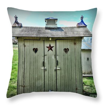 Outhouse - His And Hers Throw Pillow by Paul Ward