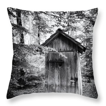 Outhouse In The Forest Black And White Throw Pillow by Matthias Hauser