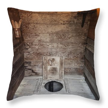 Throw Pillow featuring the photograph Outhouse Interior by Bryan Mullennix