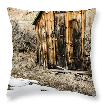 Outhouse With Electricity Throw Pillow