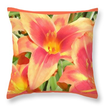 Outrageous Lilies Throw Pillow by Jean Hall