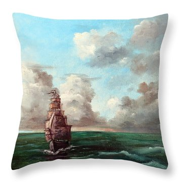 Throw Pillow featuring the painting Outrunning The Storm by Lee Piper