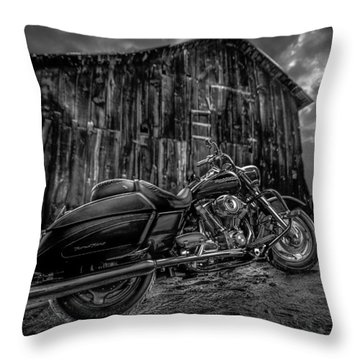 Outside The Barn Bw Throw Pillow