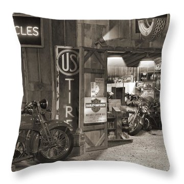 Outside The Old Motorcycle Shop - Spia Throw Pillow