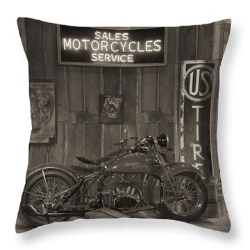 Outside The Old Motorcycle Shop - Spia Throw Pillow by Mike McGlothlen