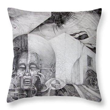 Throw Pillow featuring the drawing Outskirts Of Necropolis by Otto Rapp
