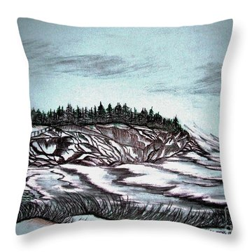 Throw Pillow featuring the drawing Oven's Park Nova Scotia by Janice Rae Pariza