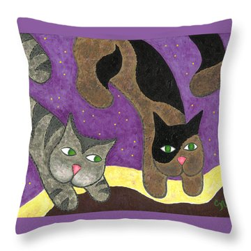 Over Cover Cats Throw Pillow