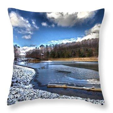 Throw Pillow featuring the photograph Over Da River N Thru Da Woods by Robert McCubbin