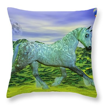 Over Oz's Rainbow Throw Pillow by Betsy Knapp