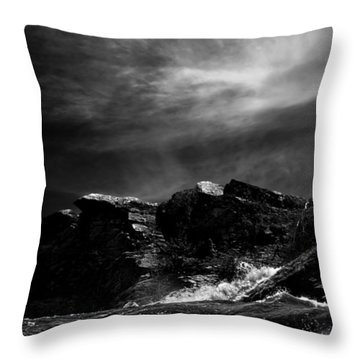Over The Falls Backwards Throw Pillow by Bob Orsillo
