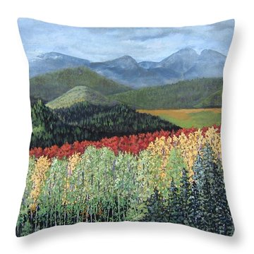 Throw Pillow featuring the painting Over The Hills And Through The Woods by Suzanne Theis