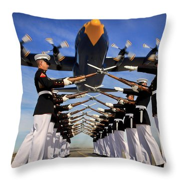 Over The Marine Corps Silent Drill Platoon Throw Pillow