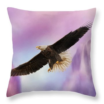 Over The Purple Mountains - Bald Eagle Throw Pillow