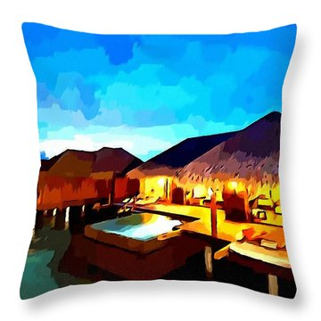 Over Water Bungalows Throw Pillow by Lanjee Chee