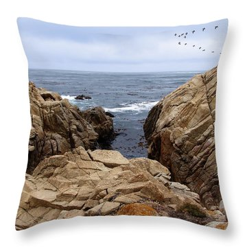 Overcast Day At Pebble Beach Throw Pillow