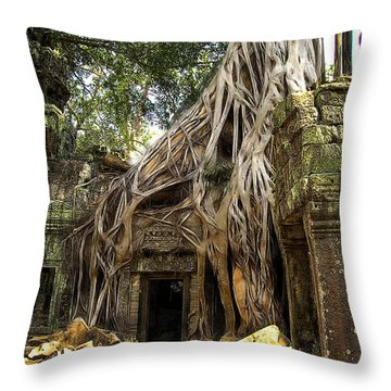 Overgrown Jungle Temple Tree  Throw Pillow