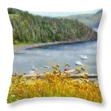 Overlooking The Harbor Throw Pillow by Jeffrey Kolker