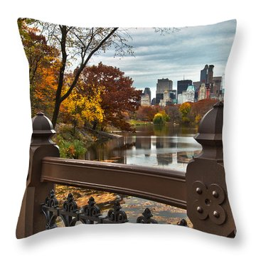 Overlooking The Lake Central Park New York City Throw Pillow