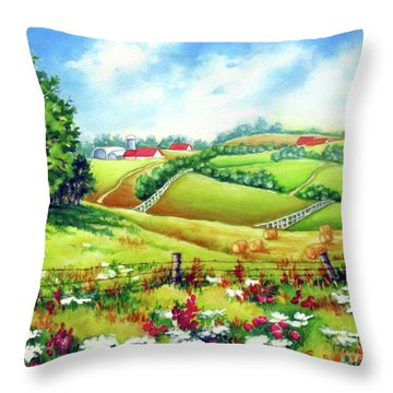 Overlooking The Meadow Throw Pillow