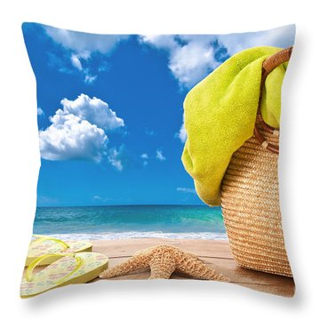 Overlooking The Ocean Throw Pillow by Amanda Elwell