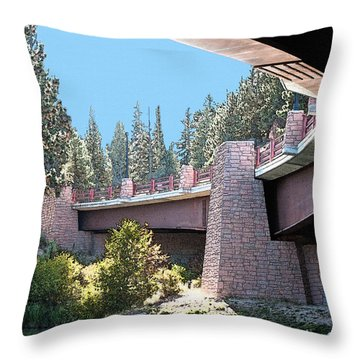 Healy Bridge Over Deschutes River Throw Pillow by Gwyn Newcombe