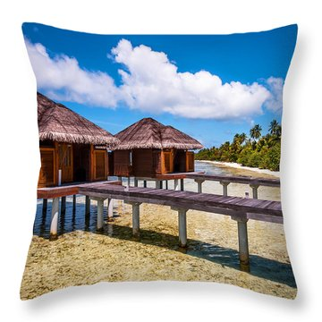 Overwater Spa Villas. Maldives Throw Pillow by Jenny Rainbow