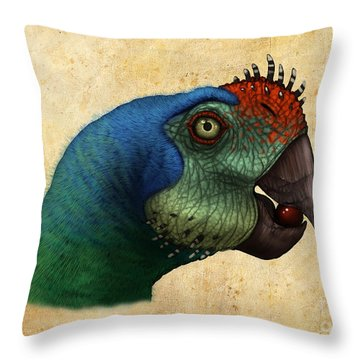 Oviraptor Head Detail Throw Pillow by Alvaro Rozalen