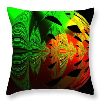 Art. Unigue Design.  Abstract Green Red And Black Throw Pillow