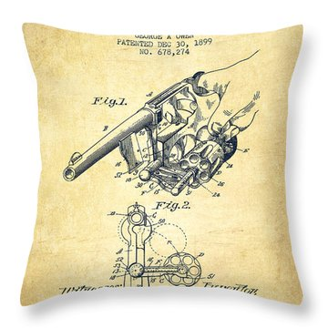 Owen Revolver Patent Drawing From 1899- Vintage Throw Pillow by Aged Pixel