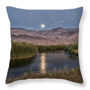 Owens River Moonrise Throw Pillow