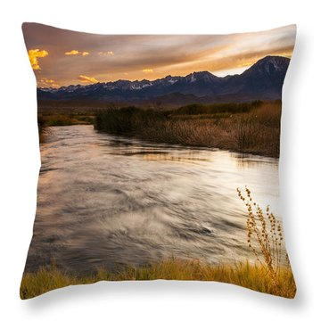 Owens River Sunset Throw Pillow by Joe Doherty