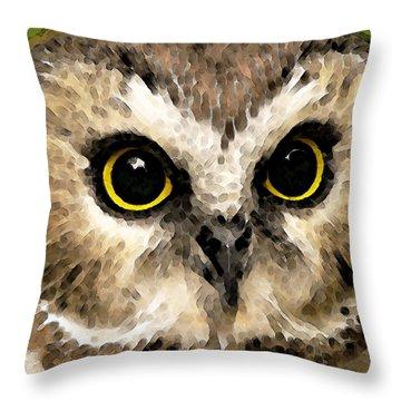 Owl Art - Night Vision Throw Pillow by Sharon Cummings
