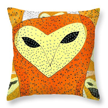 owl Throw Pillow by Barbara Moignard