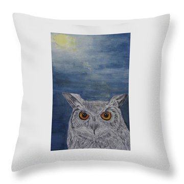 Owl By Moonlight Throw Pillow