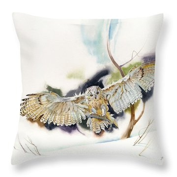Owl Catches Lunch Throw Pillow by John Norman Stewart