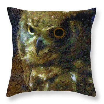 Owl Throw Pillow by Dee Flouton
