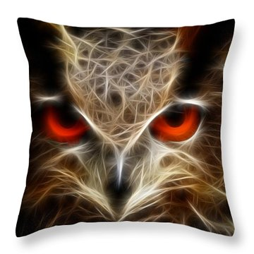 Owl - Fractal Artwork Throw Pillow