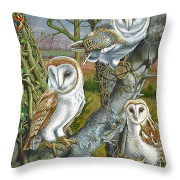 Owl Gathering Throw Pillow